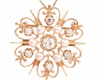 Estate Diamond 14k Ywllow Gold Pin Brooch