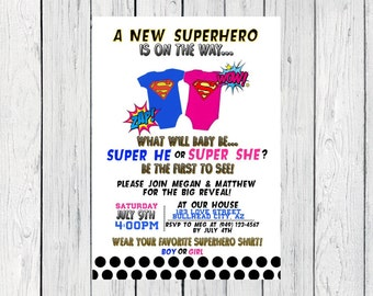 Superhero Gender Reveal Invite***Digital File*** (Baby-super)
