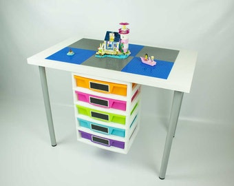 Construction Desk with attached 5 drawer storage unit, 20x30 inch building area