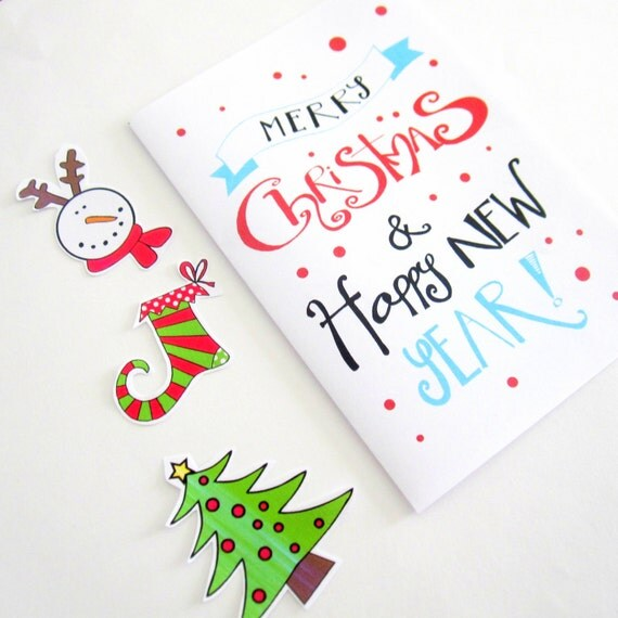 Easy Year To Travel On Christmas: Printable Christmas Card Handlettering Card Merry By