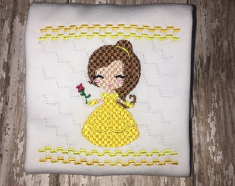 Girl Princess Belle Beauty and the Beast Yellow Boutique Birthday Party Shirt! Faux Smocking Cutie Princess Shirt