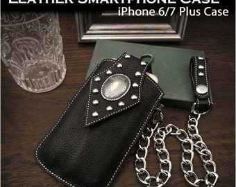 Biker Leather iPhone 6/7 Plus Case with Chain and Clip, K01C52