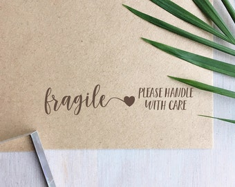 Fragile Stamp (Long) | Handle With Care Stamp - Packaging Stamp - Small Business - Gift for Crafter