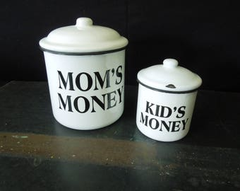 Enamel Containers White Black - Mom Kid's Money Jars - Mothers Day Gift - Canisters Vintage