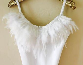 Girls flamingo costume white feather dance Leotard Ballet Bodysuit Swimsuit Bathing suit feather crystal ribbon embellished and lined nylon