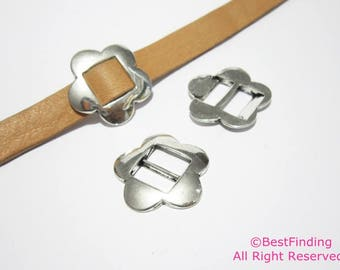 10mm Flat leather buckle slider 10mm Flat leather findings - 10pcs