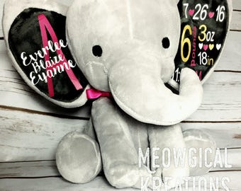 Birth Announcement Stuffed Animal, Personalized Elephant, Elephant Birth Announcement, Elephant, Baby Stat Elephant, Baby Announcement Toy