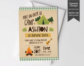 Camping Birthday Invitation, Boy Scout Camping Birthday Party Invitation, Camp Out Party, Camping Party, Camping Invitation-JPEG & PDF File