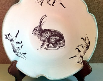 Wild hare and foxes bowl. Rabbit and foxes large serving bowl. Bunny and fox fruit bowl. Stoneware fluted bowl.Handmade USA.