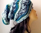 HALF PRICE sale -50% OFF Hand Knitted Hat, Slouchy beanie hat, slouchy Grey, Green, Teal shaded  colors hat, hand knit women men hat, chunky