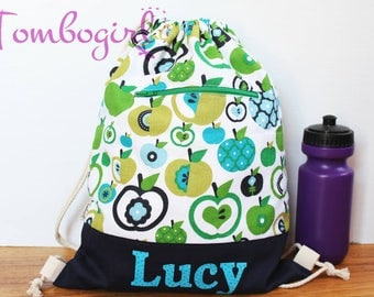 Child care bag/ Waterproof Drawstring Backpack/ Wet Bag/ S, M, L or XL size, Australian made, Personalised, birthday gift – Green Apple