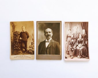 Set of 3 Vintage Portrait Photos in Black and White with Sepia Tones, home decor