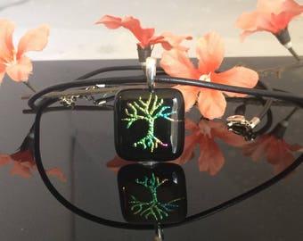 Handmade Fused Glass Tree of Life Pendant