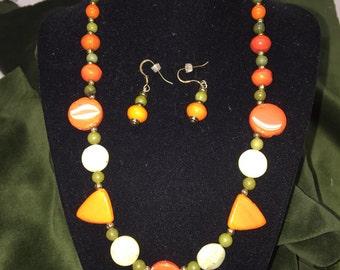 Watermelon colors necklace