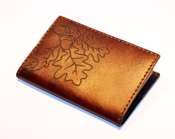 Passport Cover! Leather Passport Cover With Oak Leaves! Passport Holder! Leather Brown Passport Cover! Handmade Passport Cover!