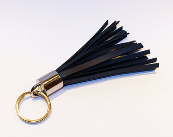 Leather Tassel Keychain. Blue Leather Keychain. 100% Handmade key chain! Great gift!