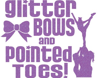 Glitter Bows and Pointed Toes Iron On Decal
