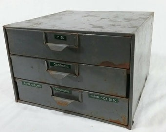 Vintage lyon industrial metal parts storage bin chest with drawers grey