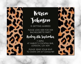Bridal Shower Invitation, leopard print, Digital File, PDF, Bride to be, hen party invitation, bridal shower printable, bachelorette party