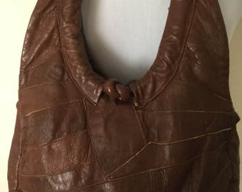 Brown 1960's Leather Patchwork Hobo Bag