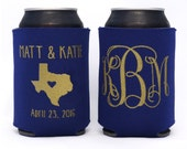 Elegant Wedding Monogram // Custom Can Cooler With State Map, Any City, State Location // Wedding Party Favors