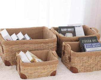 straw Receive a basket Receive basket pastoral Laundry basket clutter toy snacks bin Natural material pollution-free healthy life