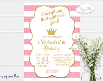Pink and Gold Birthday Invitation, Pink and Gold Birthday Party, Princess Birthday, First Birthday, Glitter Birthday Invitation