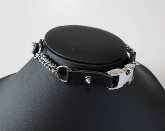 Industrial Post-Apocalyptic PU Leather Buckle Chain Choker - Cyber Industrial Goth Apocalypse Jewelry