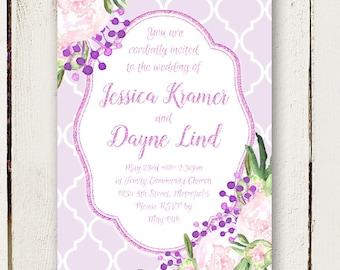 Purple Wedding Invitations - Watercolor Peonies - Elegant Invitations - 2 pc including RSVP postcards