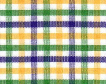 Mardi Gras Plaid Fabric – Purple, Green and Gold Check, Fabric Finders, 100% Cotton, Mardi Gras Gingham