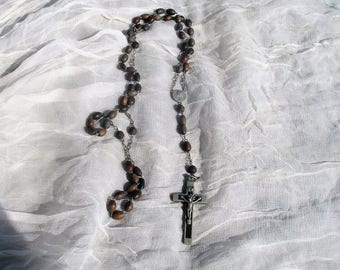 Vintage Rosary Brown Beads Catholic Necklace Chain Wall hanging Priest Nun