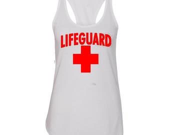 Lifeguard Woman TANK TOP RED Logo Beach Tee Tank Top California Beaches S.O.S. Life Guard Sos