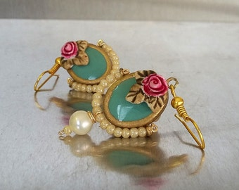 Turquoise earrings with rose and pearls - Vintage bride earrings for turquoise bridal jewelry lovers.