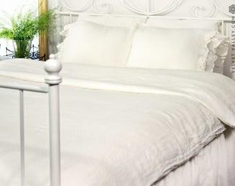 Off white SET of linen duvet cover and pillow shams with ruffles - Milk white duvet cover and pillows-Antique white romantic bed set