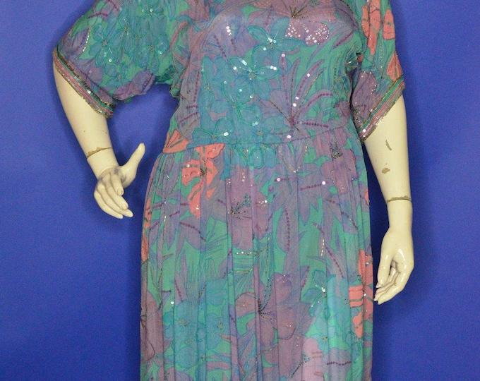 Vintage Estate Neiman Marcus Silk Sequin Beaded Purple Pink Blue Dress