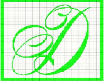 Crochet Monogram Letter D Graph, Crochet, Knit, Cross Stitch Chart Pattern, Digital PDF Files