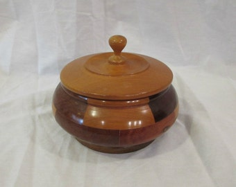 Wood Box, Hand Crafted, Nine Different Woods, Round With Lid