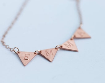 Customized name triangle copper necklace / bunting necklace / 14k rose gold / name garland necklace / personalized jewelry / hand stamped