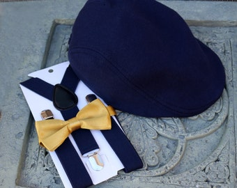 Kids Boy's Newsboy caps, Navy blue Hat,Suspenders,Gold bow Tie, 2T,3T,4T,children,Christmas,wedding