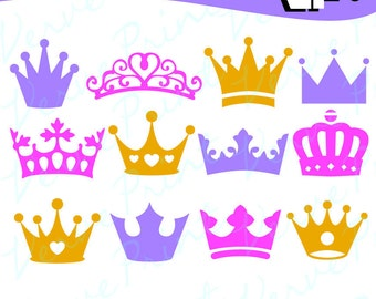 Crown Silhouette Svg, Ai, Eps, Pdf Cutting file,Princess Crown SVG vector clipart, silhouette cameo cricut clip art Commercial use