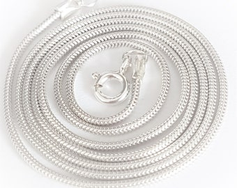 Sterling Silver Snake Chain 14ins to 50ins 1.2mm thickness handmade Diamond cut and made to order
