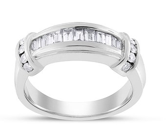 0.50 Ct. Natural Diamond Baguette Anniversary Band Ring 14k White Gold