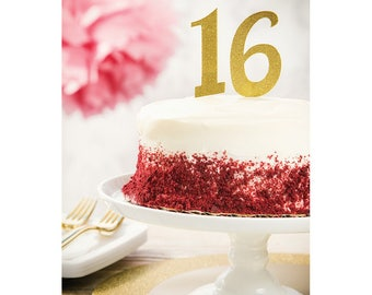 Glitter Gold Custom Number Cake Toppers/ Number Cake Toppers/ Age Cake Toppers/ Gold Number Cake Toppers