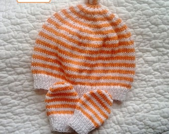 Duo Pixie hat and matching mittens size newborn to 1 month knit 100% cotton orange and white