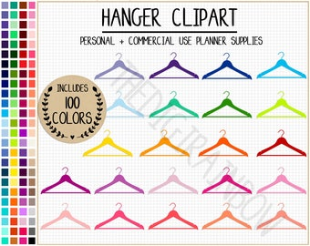 SALE 100 HANGER Clipart Coat Hanger Stickers Laundry Cleaning Icons Shopping Closet Graphics