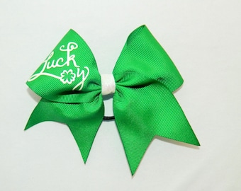 Lucky Shamrock in Green Piggy Tail Cheer Bow Hair Bow