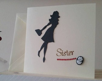 Sister Birthday Card Sister Card - Stylish Sister Card - Older Sister Card - Younger Sister Card - Handmade Card Special Sister Beautiful