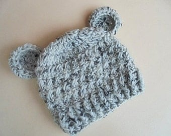 Wool baby hat Baby bear hat Gray bear hat Baby bear beanie Baby hat with ears Baby animal hat Newborn bear hat Crochet baby hat Bear hat
