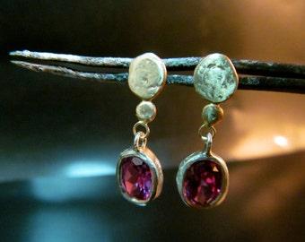 Gold earrings, Gold dangle earrings, Purple Alexandrite stones, dangle earrings, Gift earrings, Bridal earrings, Wedding jewelry.
