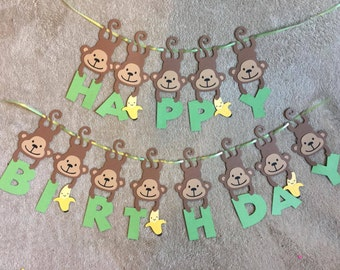 Monkey Happy Birthday Banner. Can be personalized with name and/or age. Free Shipping!!